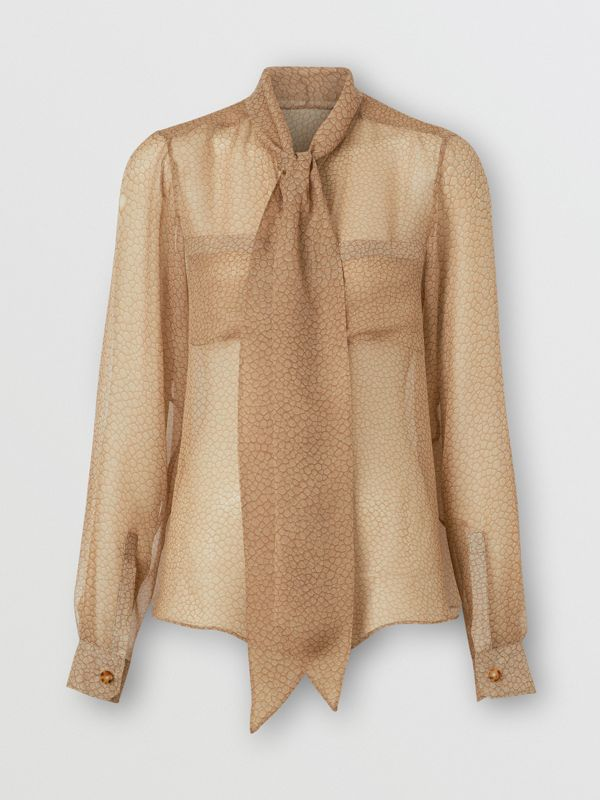 Fish-scale Print Silk Oversized Pussy-bow Blouse in Light Sand - Women | Burberry - cell image 3