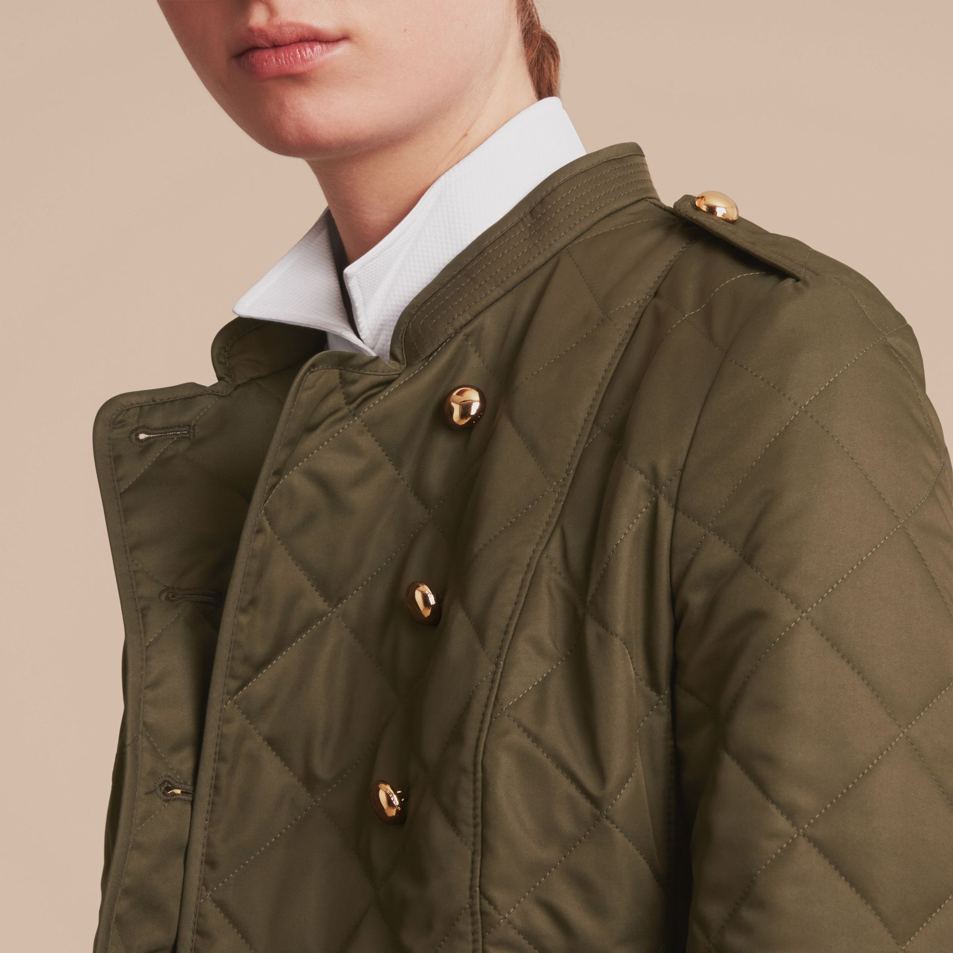 Double-breasted Quilted Military Jacket in Dark Olive - Women | Burberry - gallery image 5