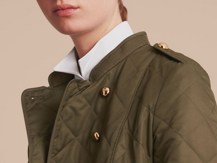 Double-breasted Quilted Military Jacket in Dark Olive - Women | Burberry - cell image 4