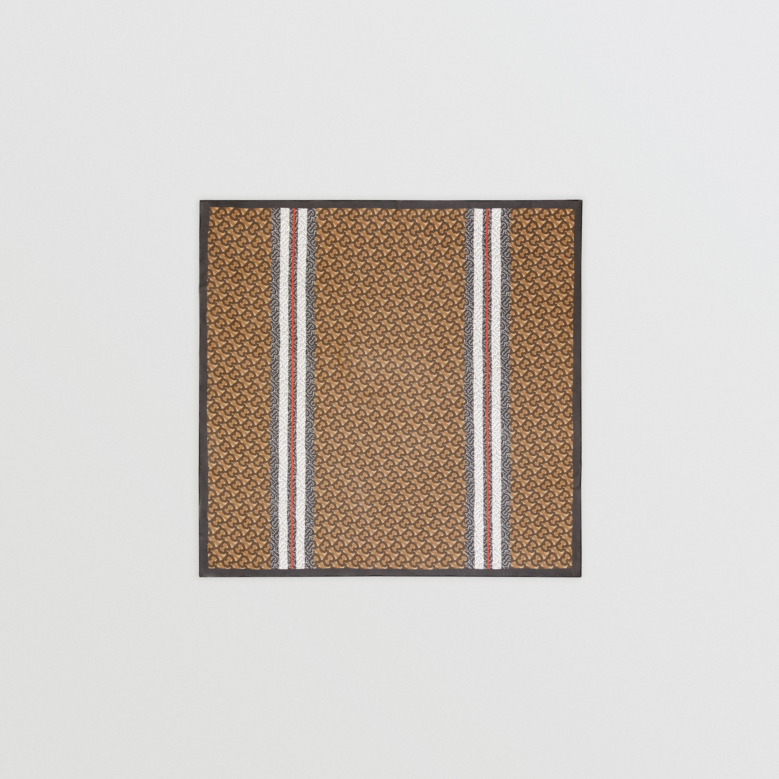 Monogram Stripe Silk Square Scarf in Bridle Brown | Burberry - 1