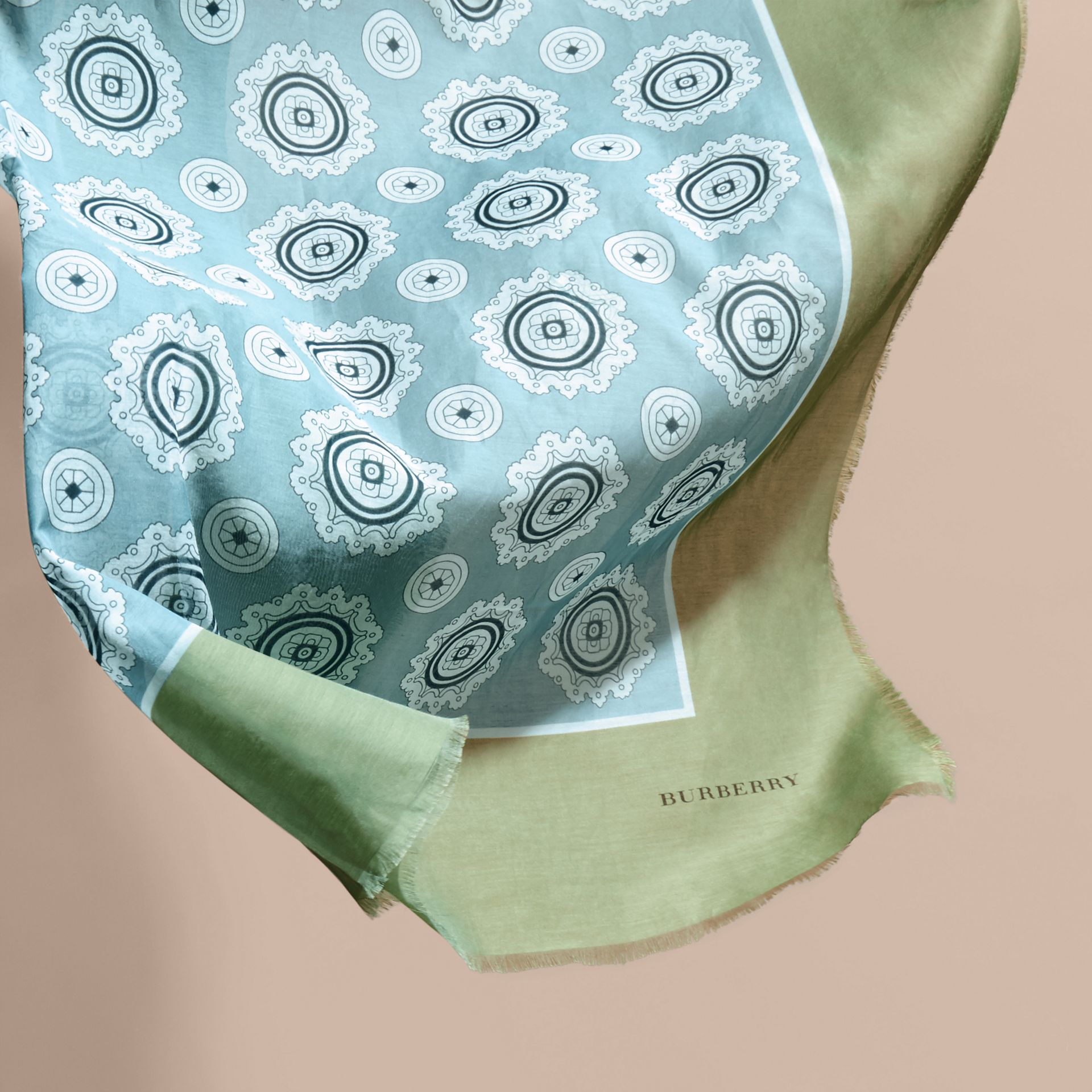 Pyjama Print Cotton Silk Scarf in Pale Stone Blue - gallery image 4