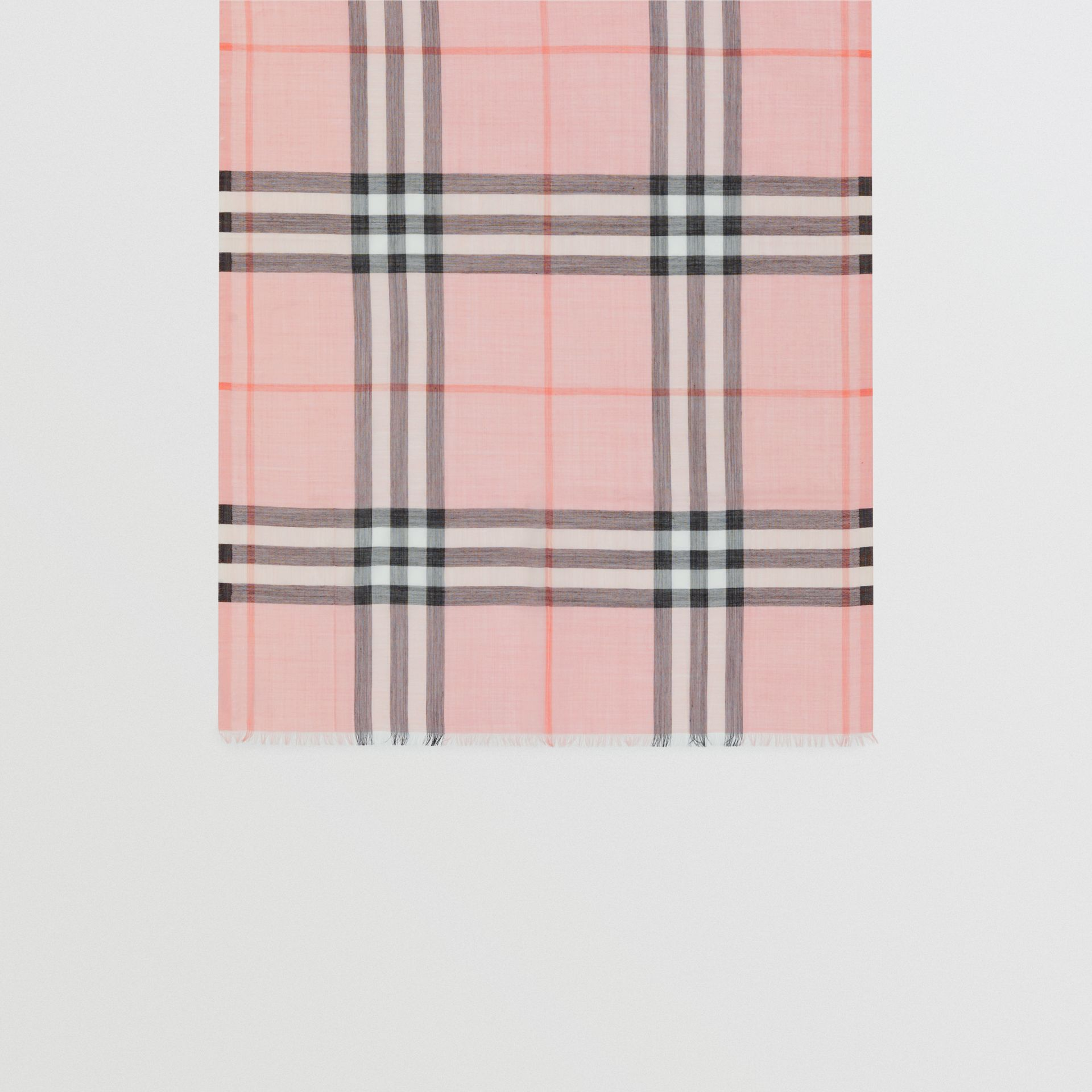Lightweight Check Wool and Silk Scarf in Ash Rose | Burberry - gallery image 3