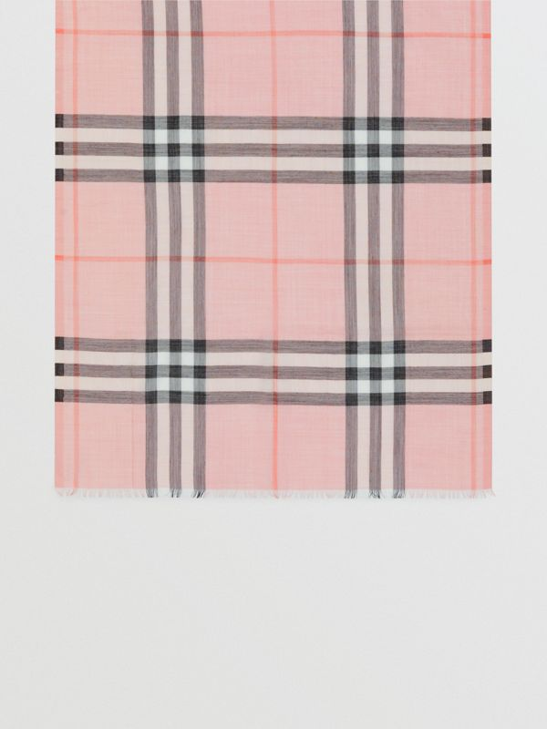 Lightweight Check Wool and Silk Scarf in Ash Rose | Burberry - cell image 2