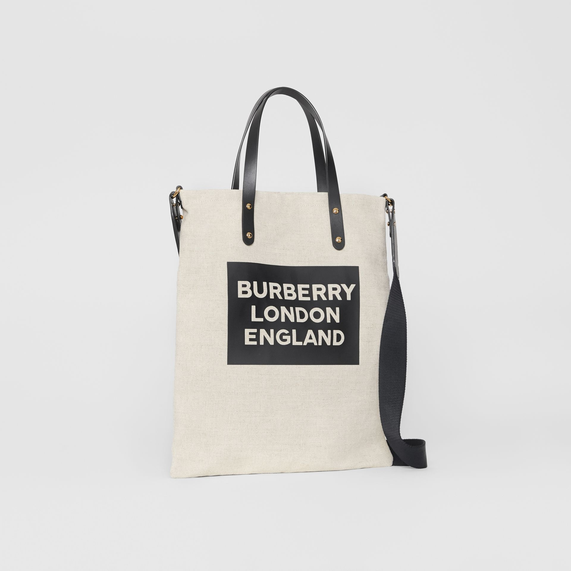 Logo Cotton Canvas Tote Bag in Natural | Burberry - gallery image 6