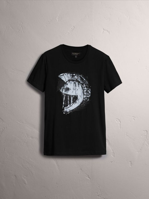 Pallas Helmet Print Cotton T-shirt - Men | Burberry - cell image 3