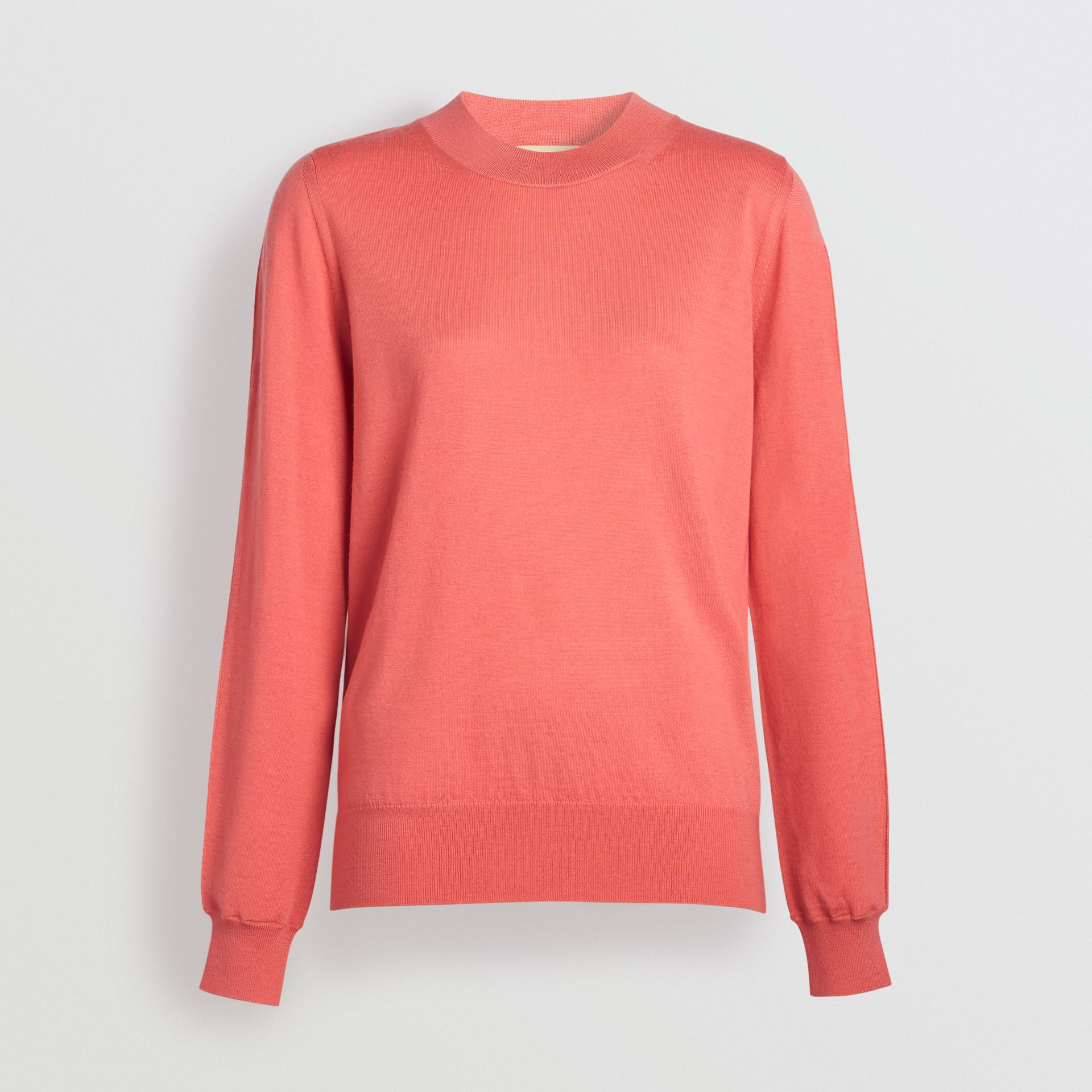 Merino Wool Crew Neck Sweater in Coral - Women | Burberry - gallery image 3