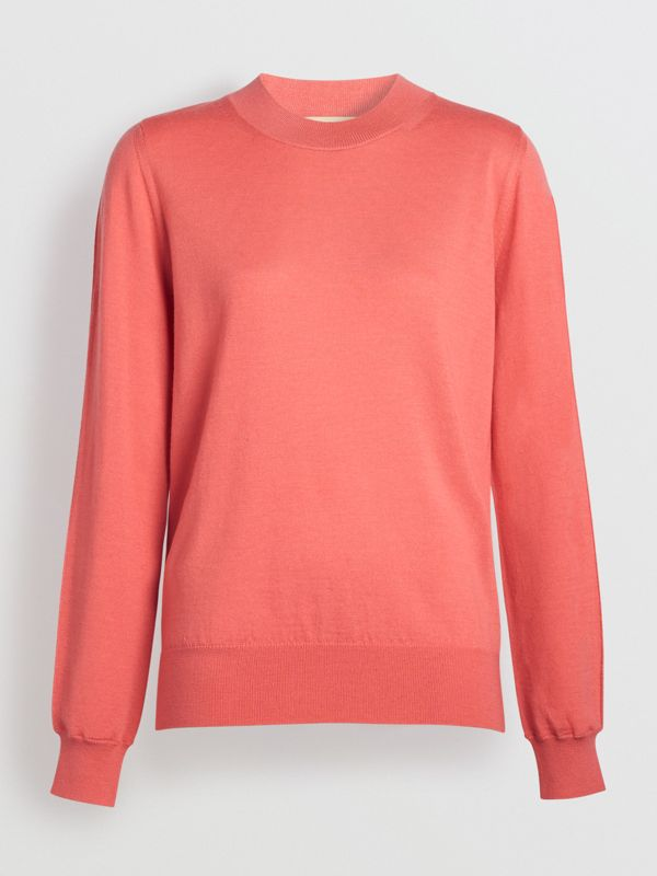 Merino Wool Crew Neck Sweater in Coral - Women | Burberry Hong Kong - cell image 3