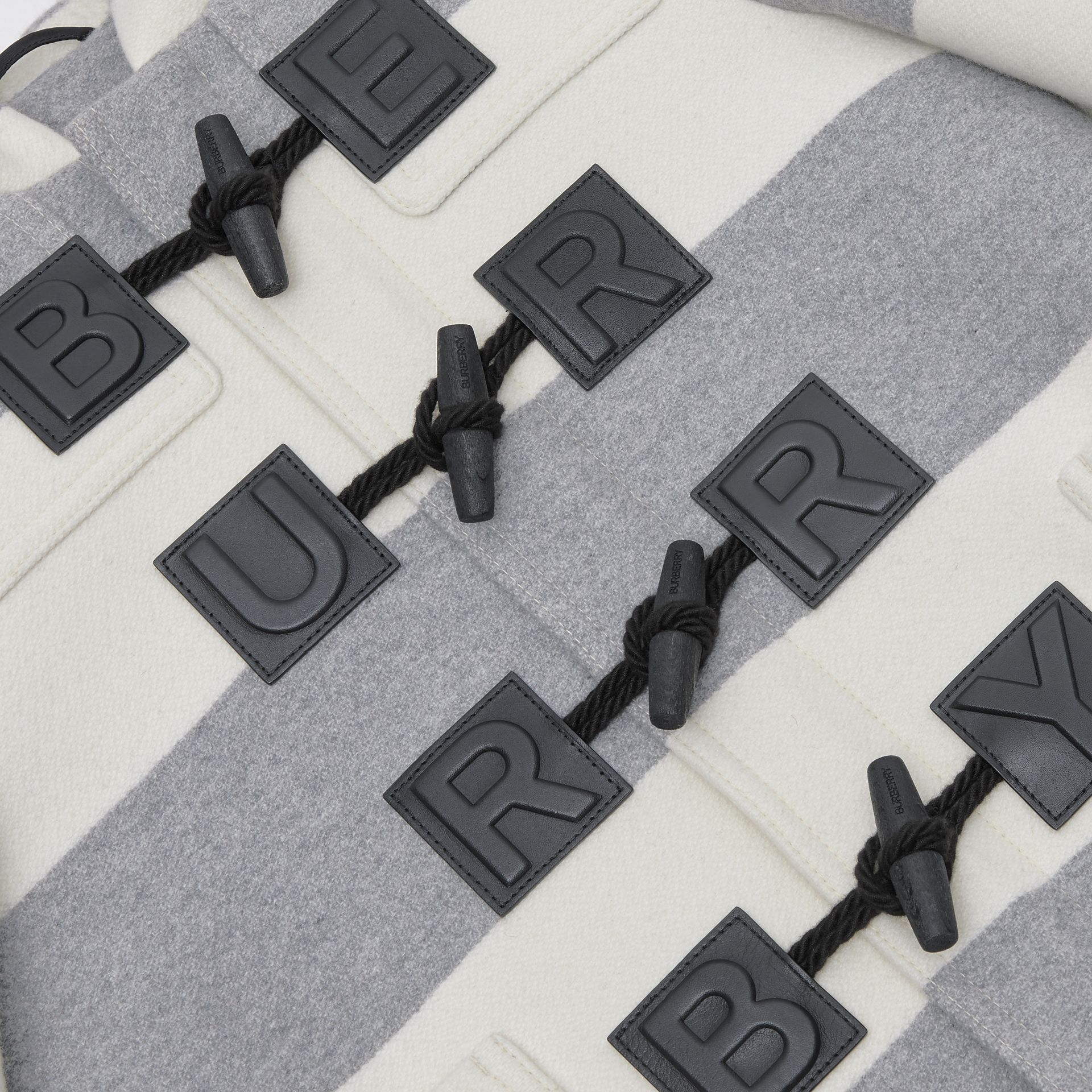 Logo Detail Striped Wool Cashmere Blend Duffle Coat in Grey | Burberry Australia - gallery image 1