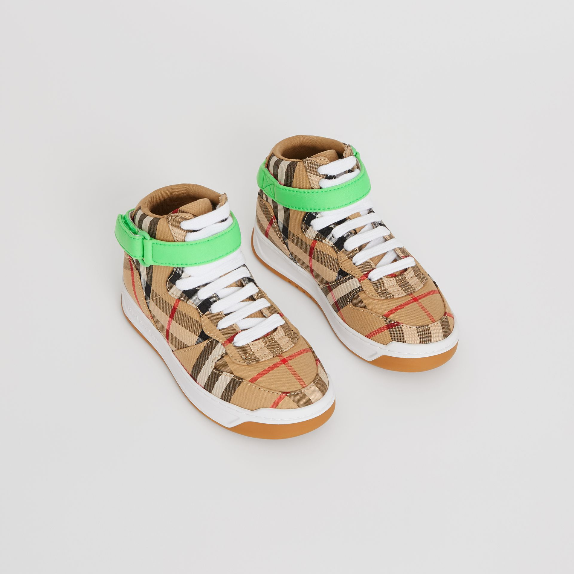 Vintage Check High-top Sneakers in Antique Yellow/neon Green | Burberry - gallery image 0