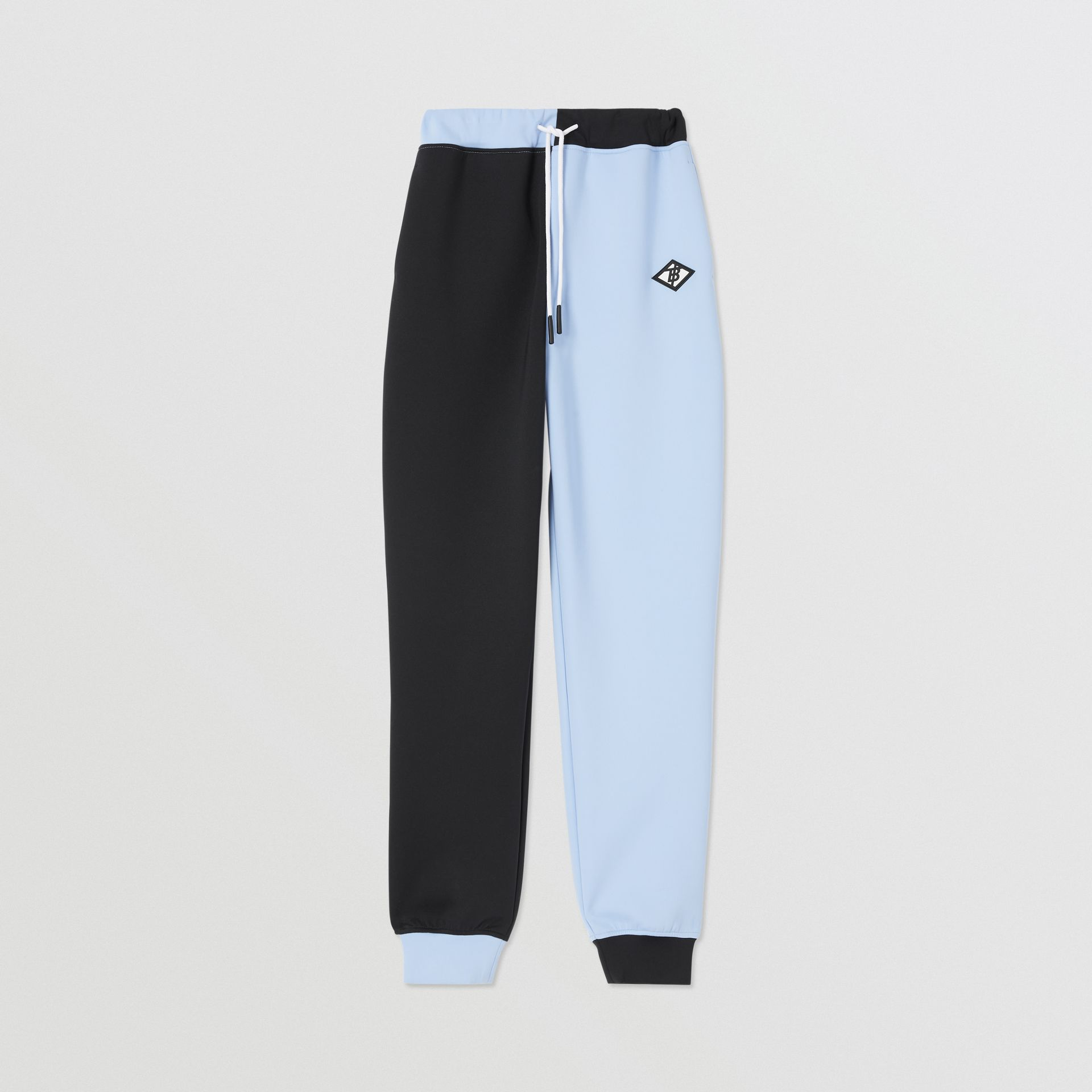 Logo Graphic Two-tone Stretch Jersey Trackpants in Pale Blue | Burberry United Kingdom - gallery image 0