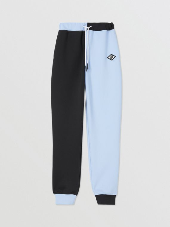 Logo Graphic Two-tone Stretch Jersey Trackpants in Pale Blue