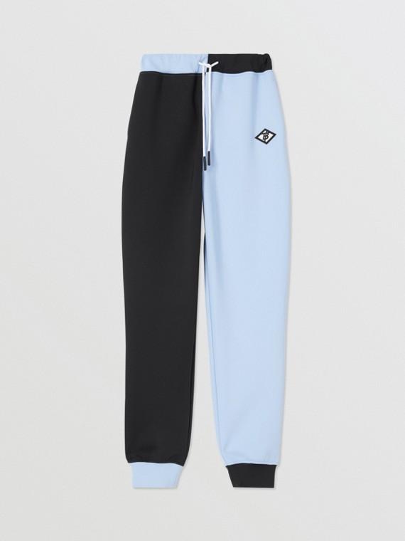 標誌圖形雙色調伸縮平織運動褲 (淡藍色)