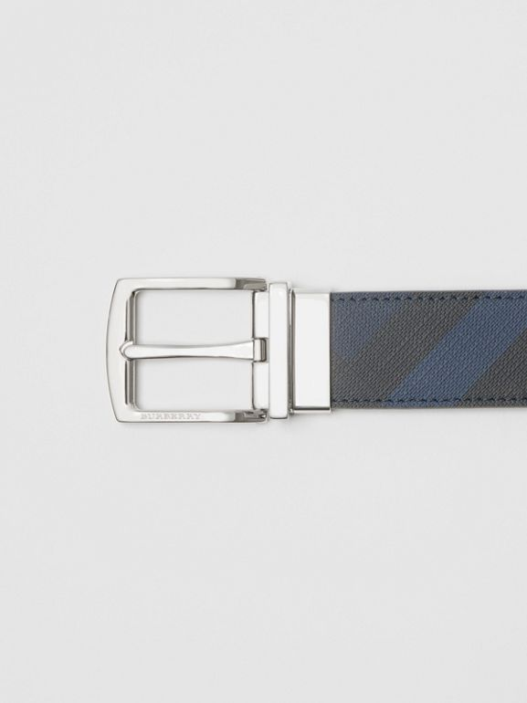 Reversible London Check and Leather Belt in Navy/black - Men | Burberry United Kingdom - cell image 1
