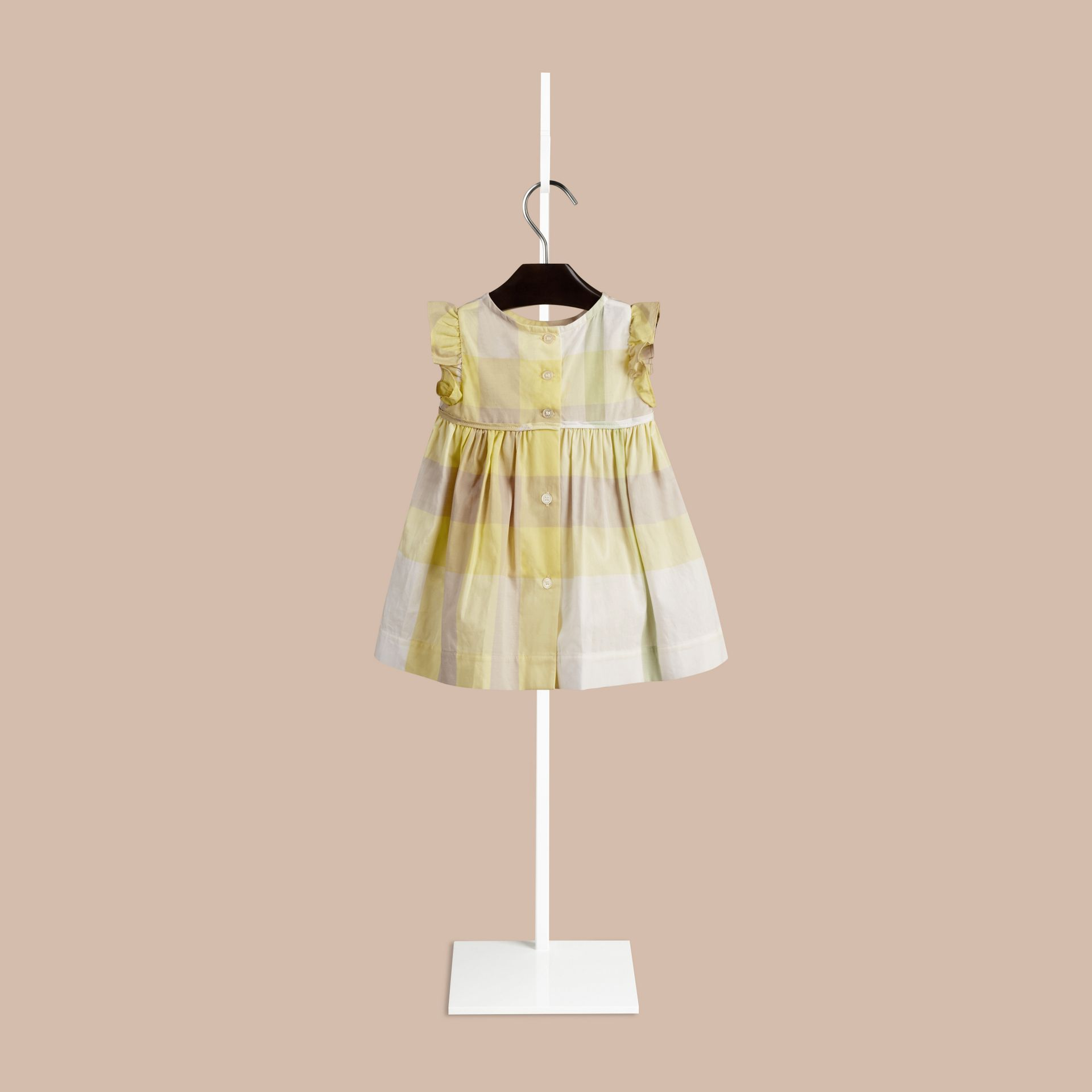 Pale lemon Flutter Sleeve Check Dress Pale Lemon - gallery image 2