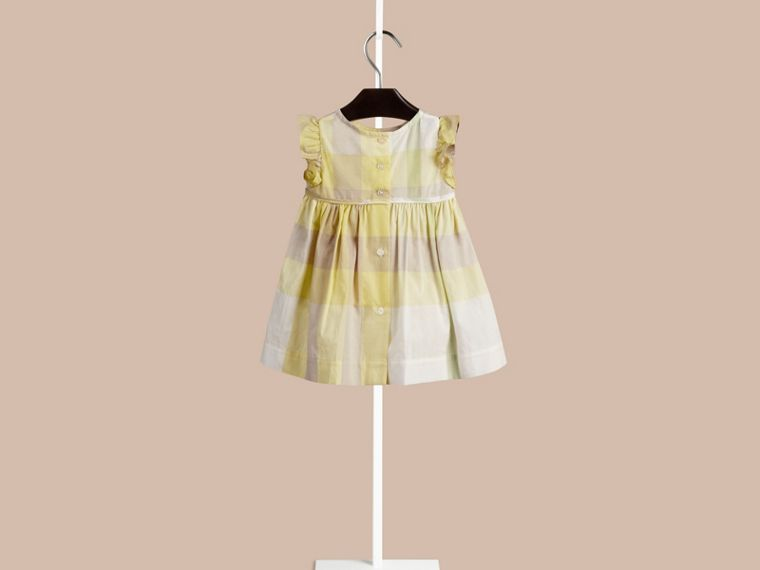 Pale lemon Flutter Sleeve Check Dress Pale Lemon - cell image 1