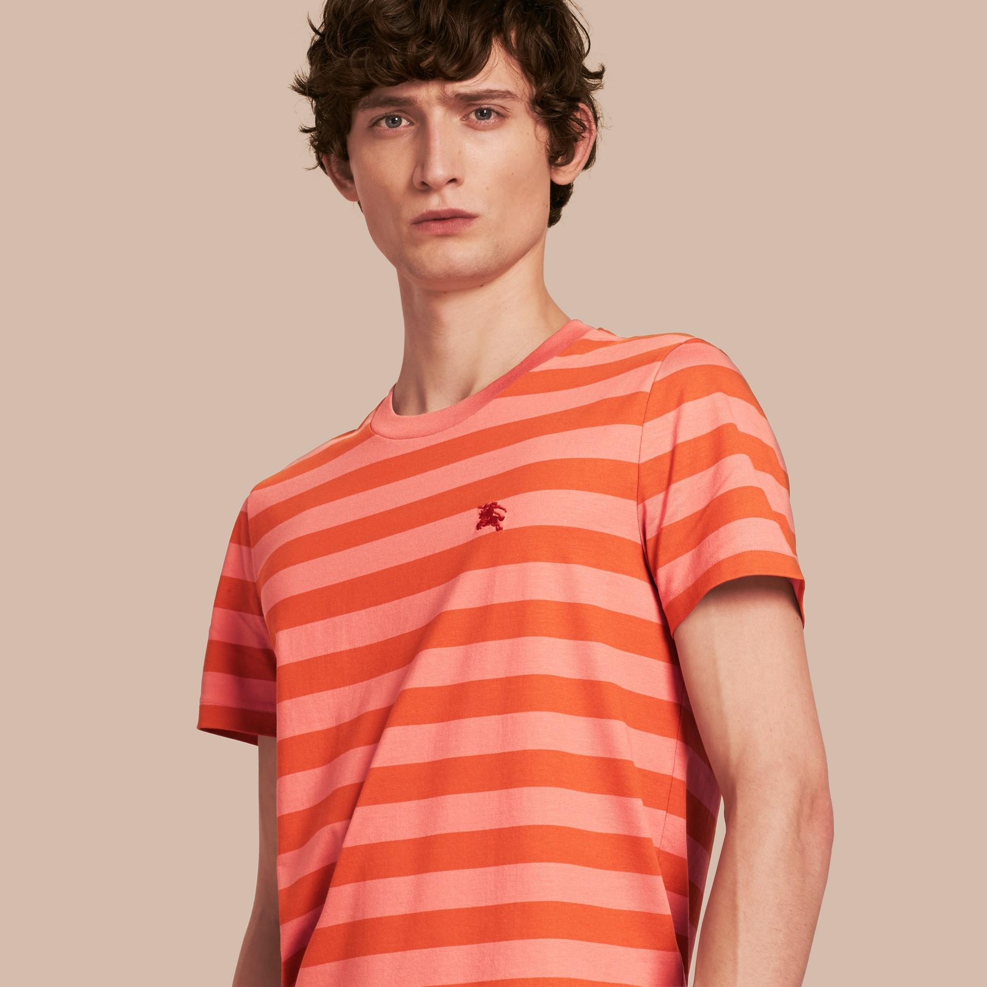 Striped Cotton T-Shirt Orange/rose Pink - gallery image 1