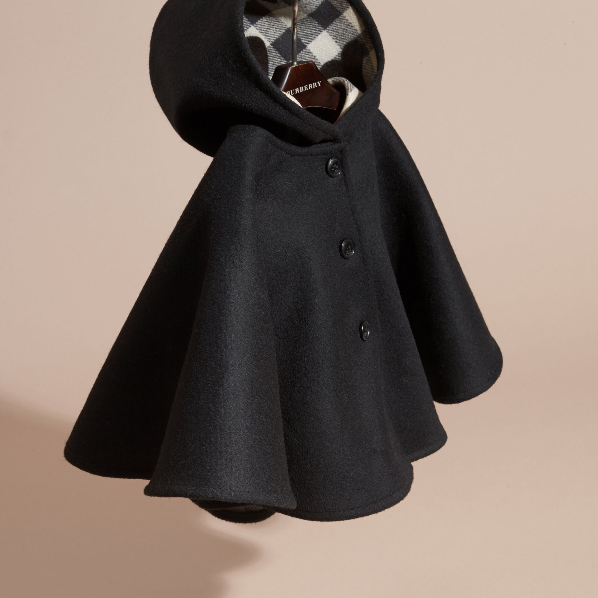 Black Heart and Check-lined Hooded Wool Cape - gallery image 3