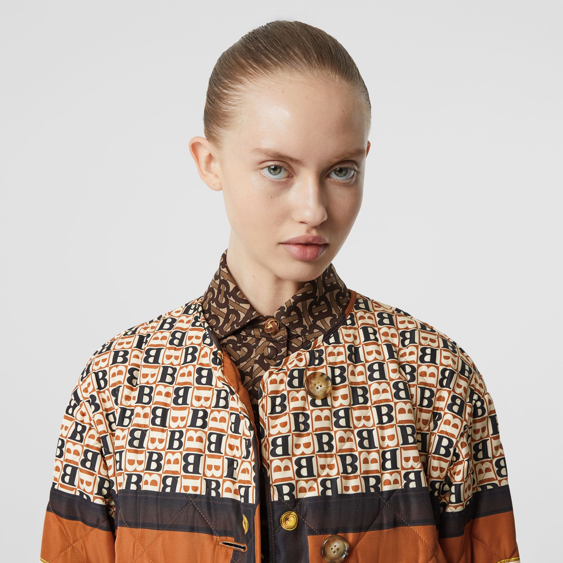 Archive Scarf Print Diamond Quilted Coat in Clay Sienna - Women | Burberry - gallery image 1