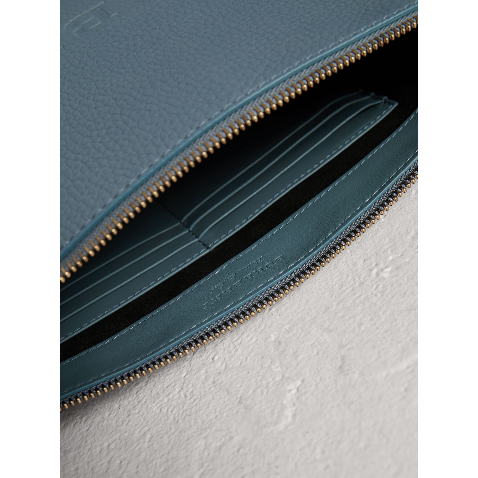 Large Embossed Leather Zip Pouch in Dusty Teal Blue | Burberry United Kingdom - gallery image 3