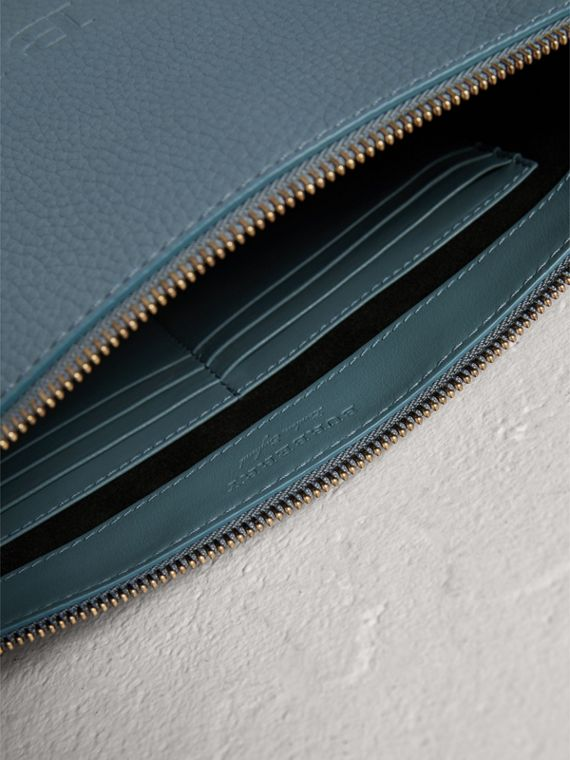 Large Embossed Leather Zip Pouch in Dusty Teal Blue | Burberry - cell image 3