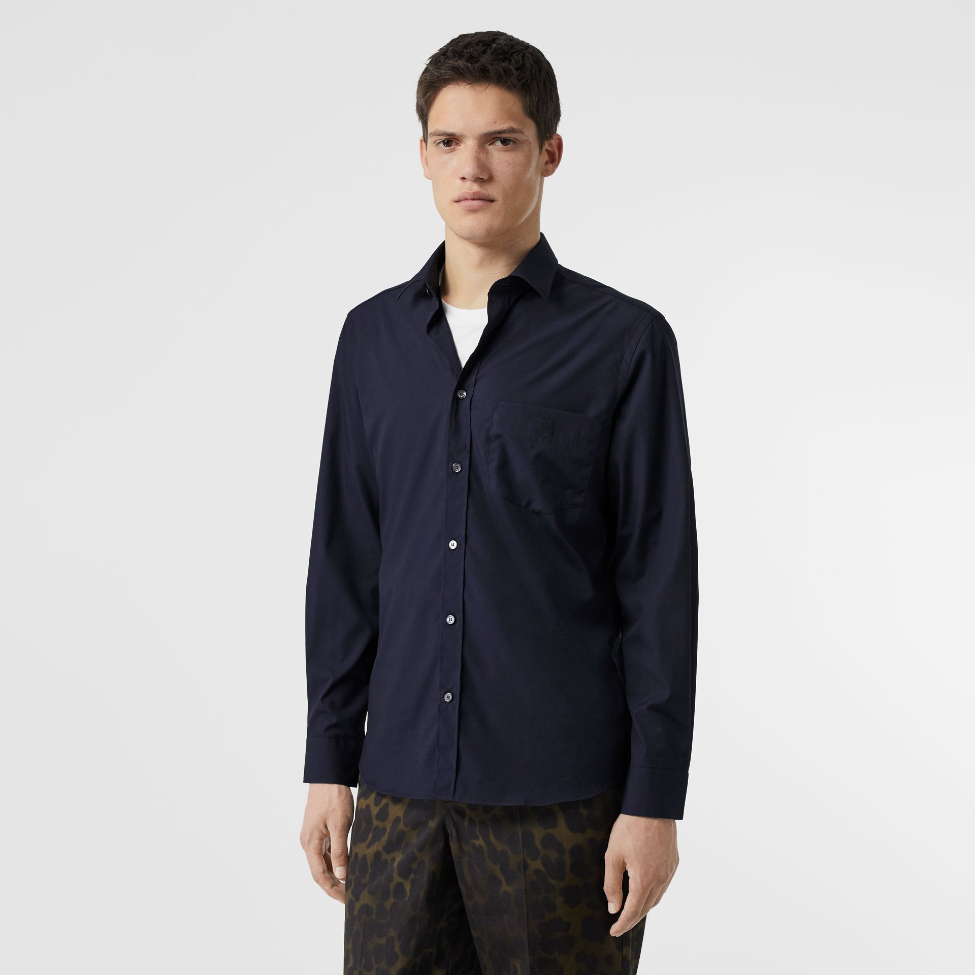 Monogram Motif Stretch Cotton Poplin Shirt in Navy - Men | Burberry United Kingdom - gallery image 4