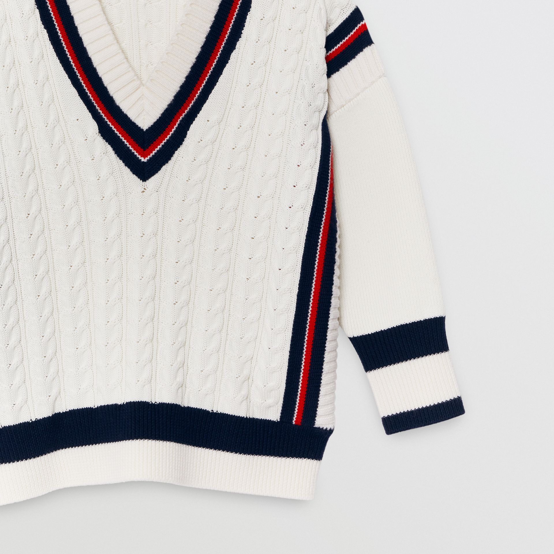 Stripe Detail Cotton and Merino Wool Sweater in White | Burberry - gallery image 4