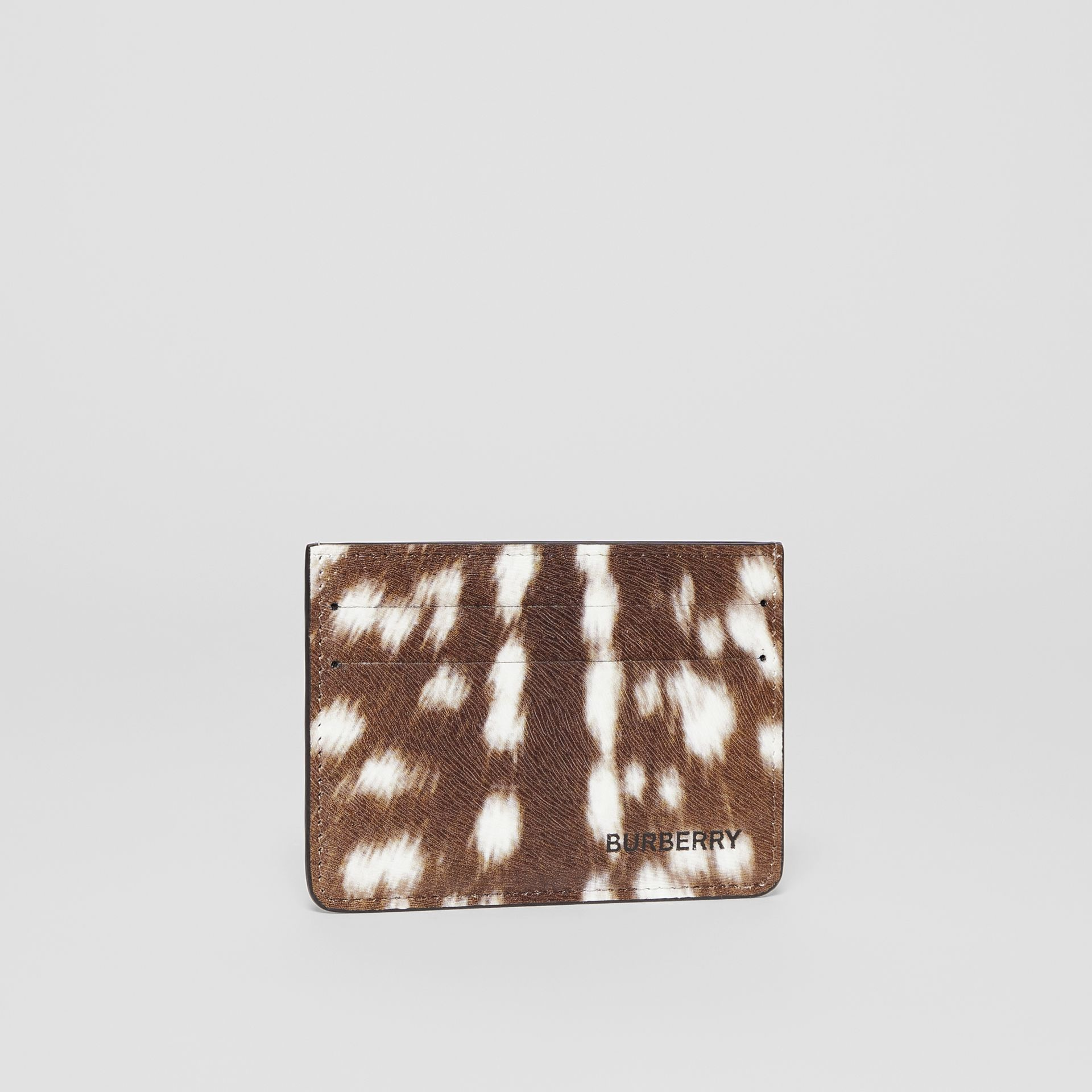 Deer Print Leather Card Case in Tan/white | Burberry - gallery image 2