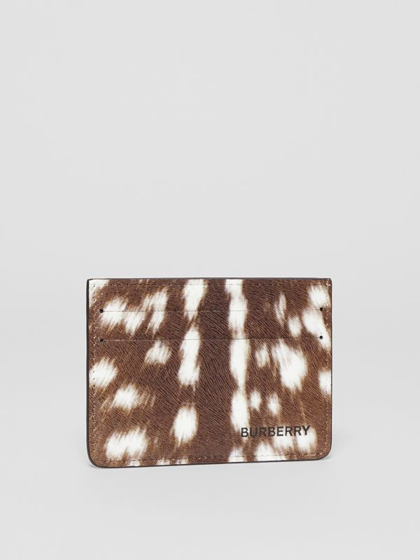 Deer Print Leather Card Case in Tan/white | Burberry Hong Kong S.A.R - cell image 2