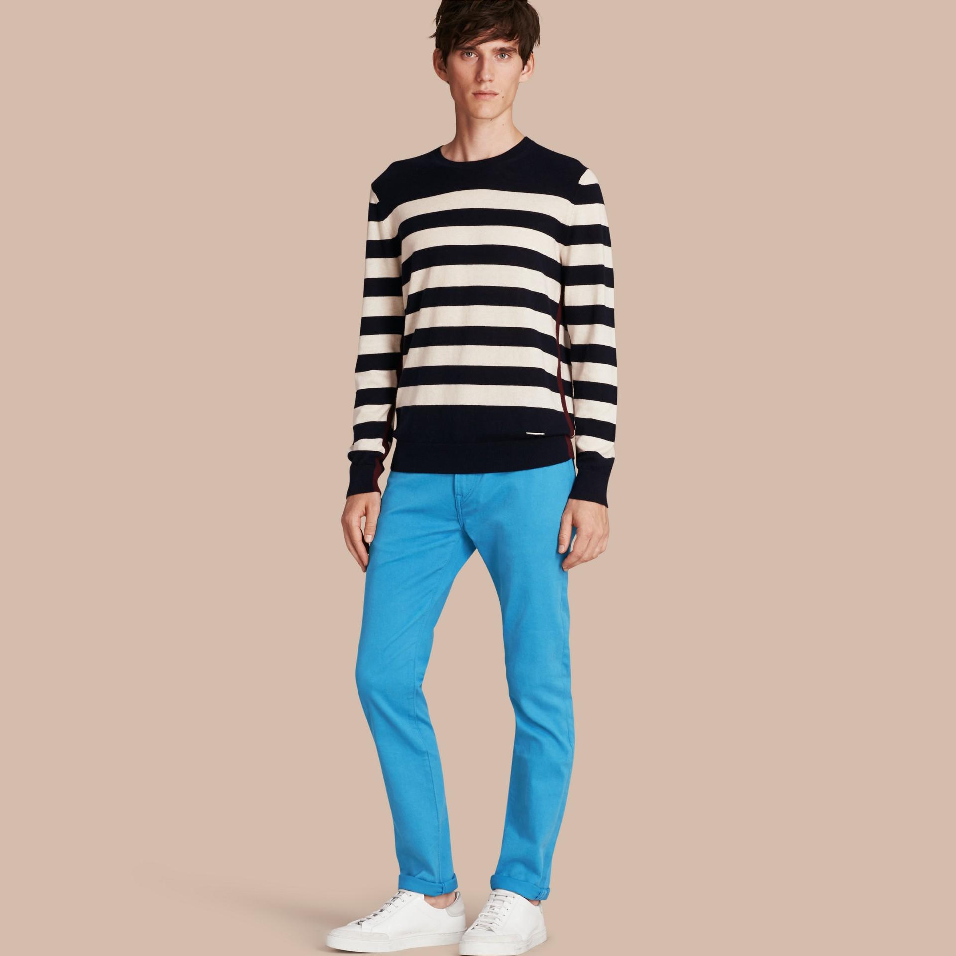 Slim Fit Japanese Stretch Denim Jeans Cerulean Blue - gallery image 1