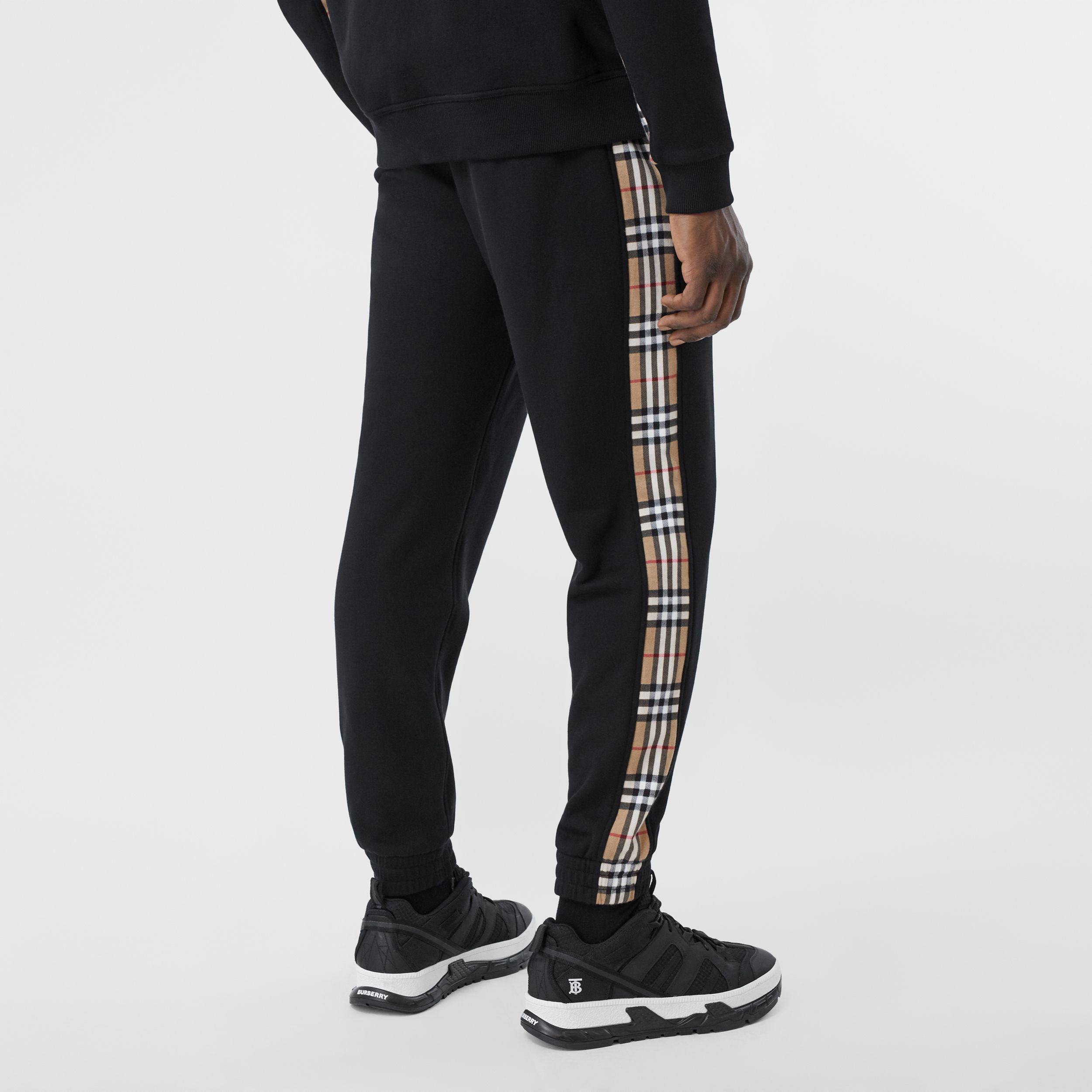 Vintage Check Panel Cotton Jogging Pants in Black - Men | Burberry - 3