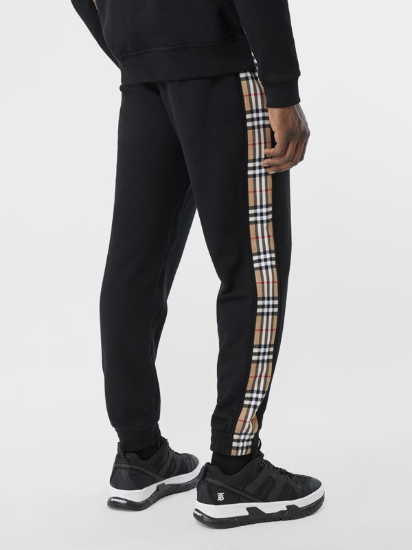 Vintage Check Panel Cotton Trackpants in Black - Men | Burberry United Kingdom - cell image 2