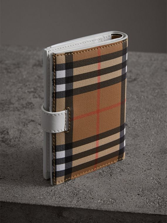 Vintage Check and Leather Folding Wallet in Chalk White - Women | Burberry Singapore - cell image 2
