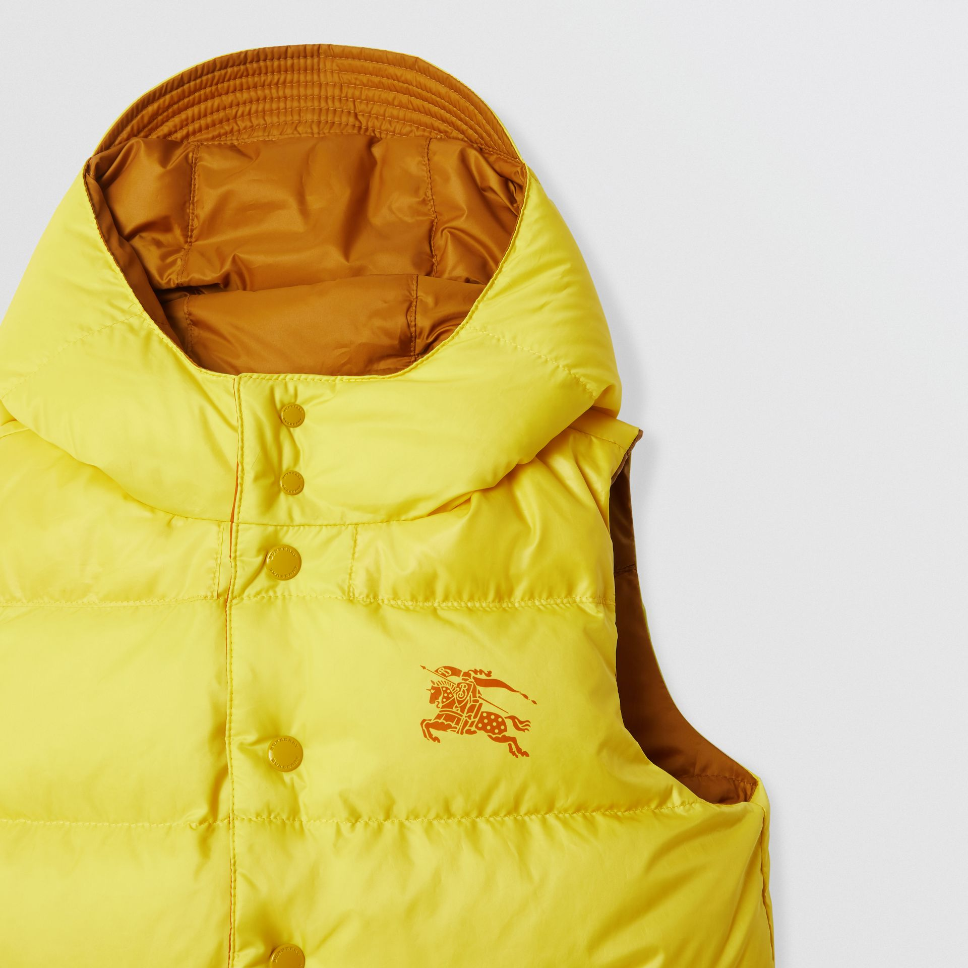 Reversible Showerproof Down-filled Hooded Gilet in Citrus Yellow | Burberry - gallery image 5
