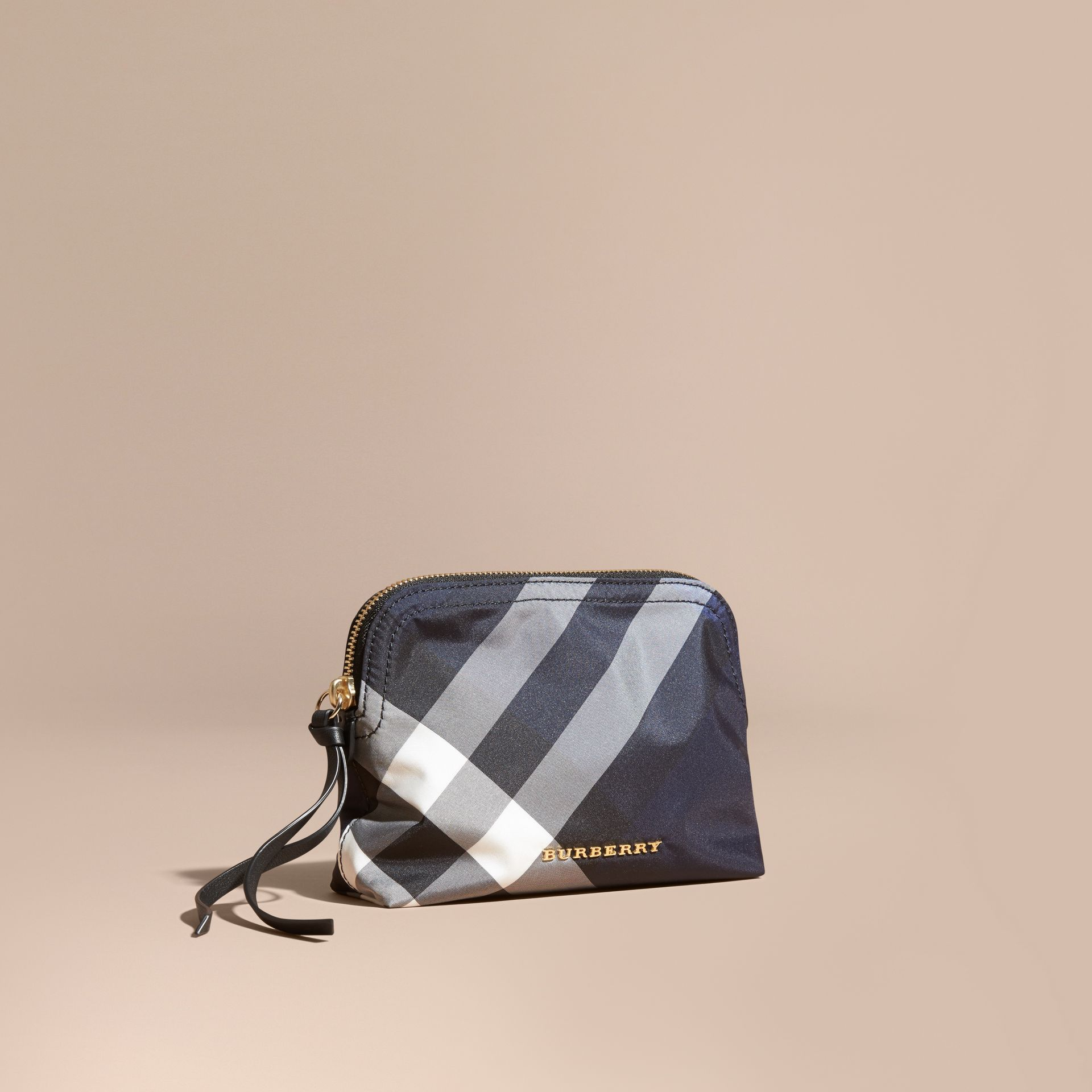 Medium Zip-top Check Technical Pouch Indigo Blue - gallery image 1
