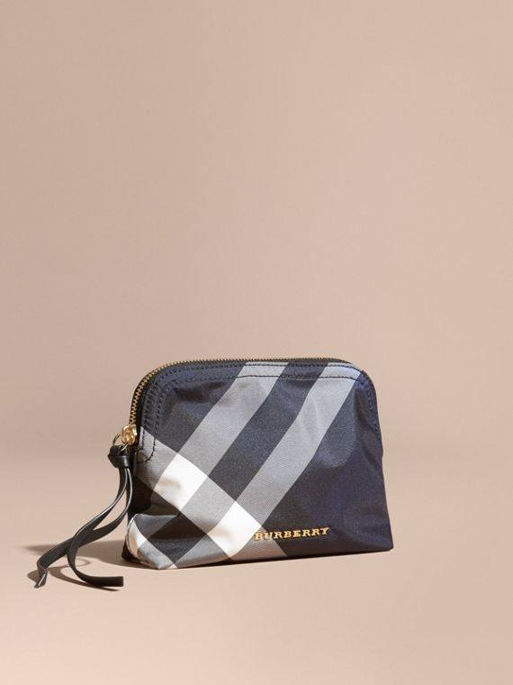 Medium Zip-top Check Technical Pouch Indigo Blue