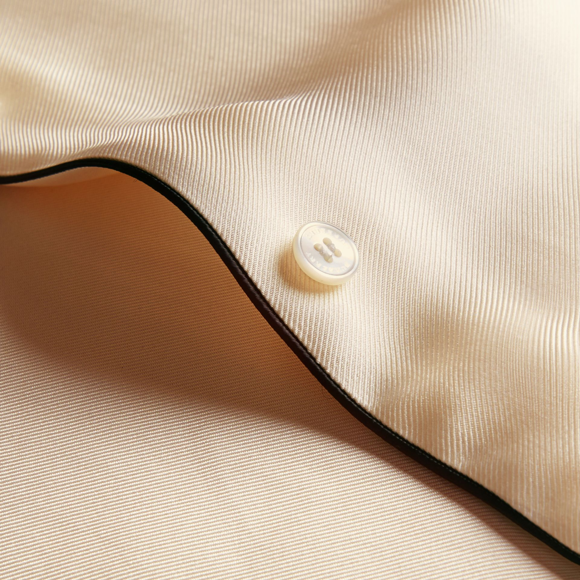 Natural white Piped Modern Fit Silk Shirt - gallery image 2