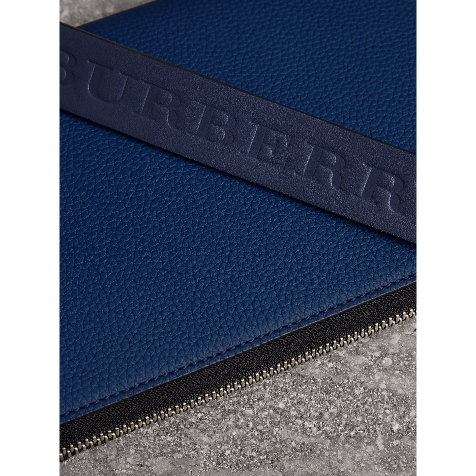 Two-tone Grainy Leather Travel Wallet in Bright Ultramarine - Men | Burberry - gallery image 1