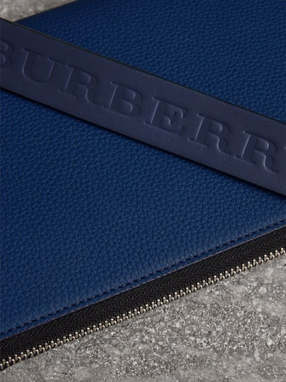 Two-tone Grainy Leather Travel Wallet in Bright Ultramarine - Men | Burberry - cell image 1