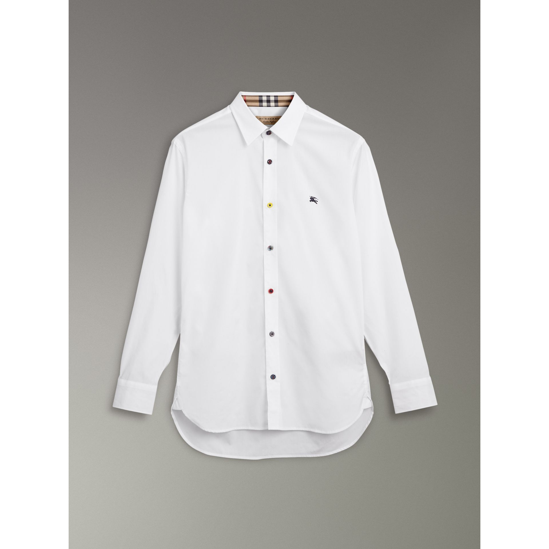 Contrast Button Stretch Cotton Shirt in White - Men | Burberry Canada - gallery image 3