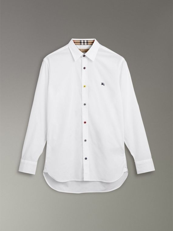 Contrast Button Stretch Cotton Shirt in White - Men | Burberry United Kingdom - cell image 3