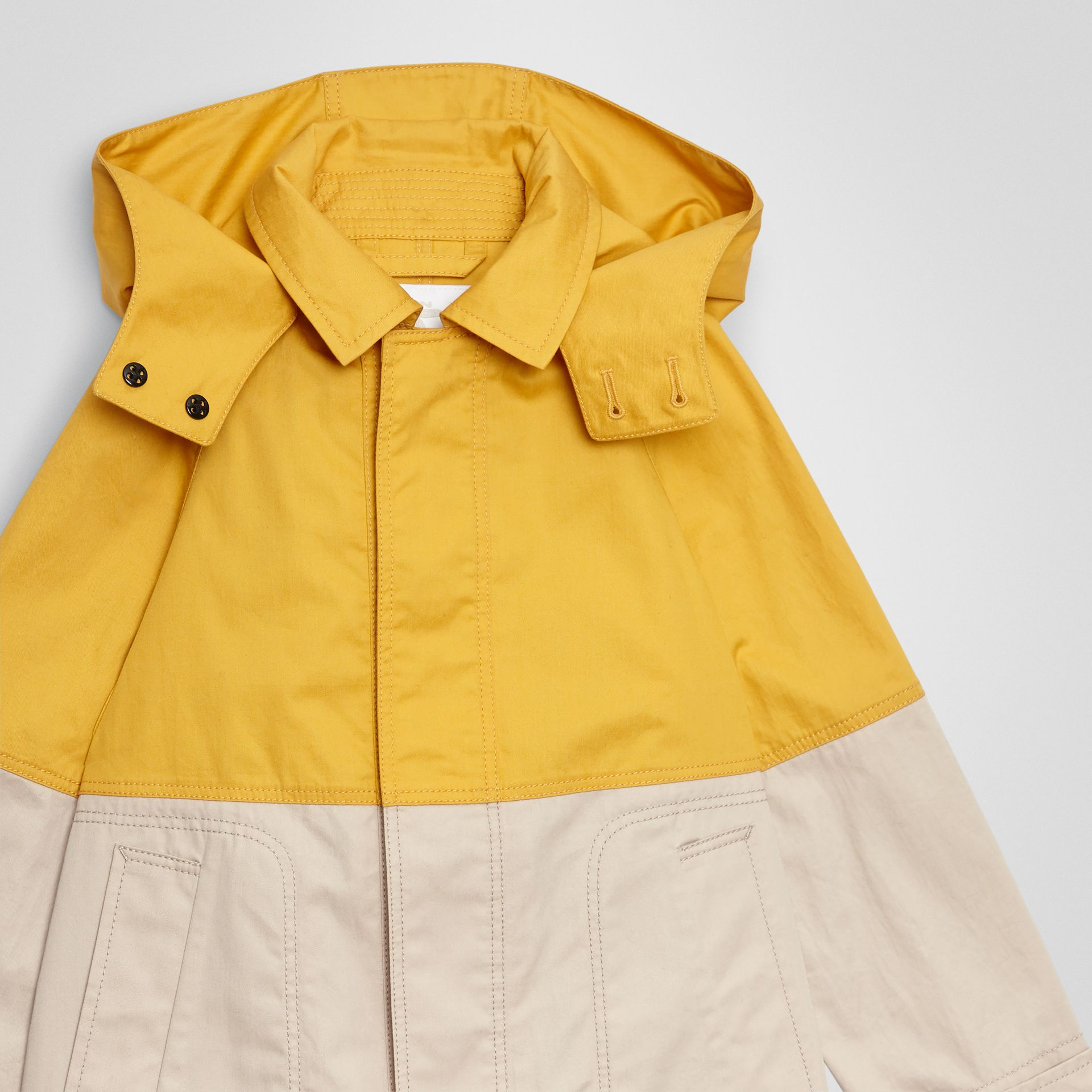 Detachable Hood Colour Block Cotton Car Coat in Gorse Yellow | Burberry - gallery image 4