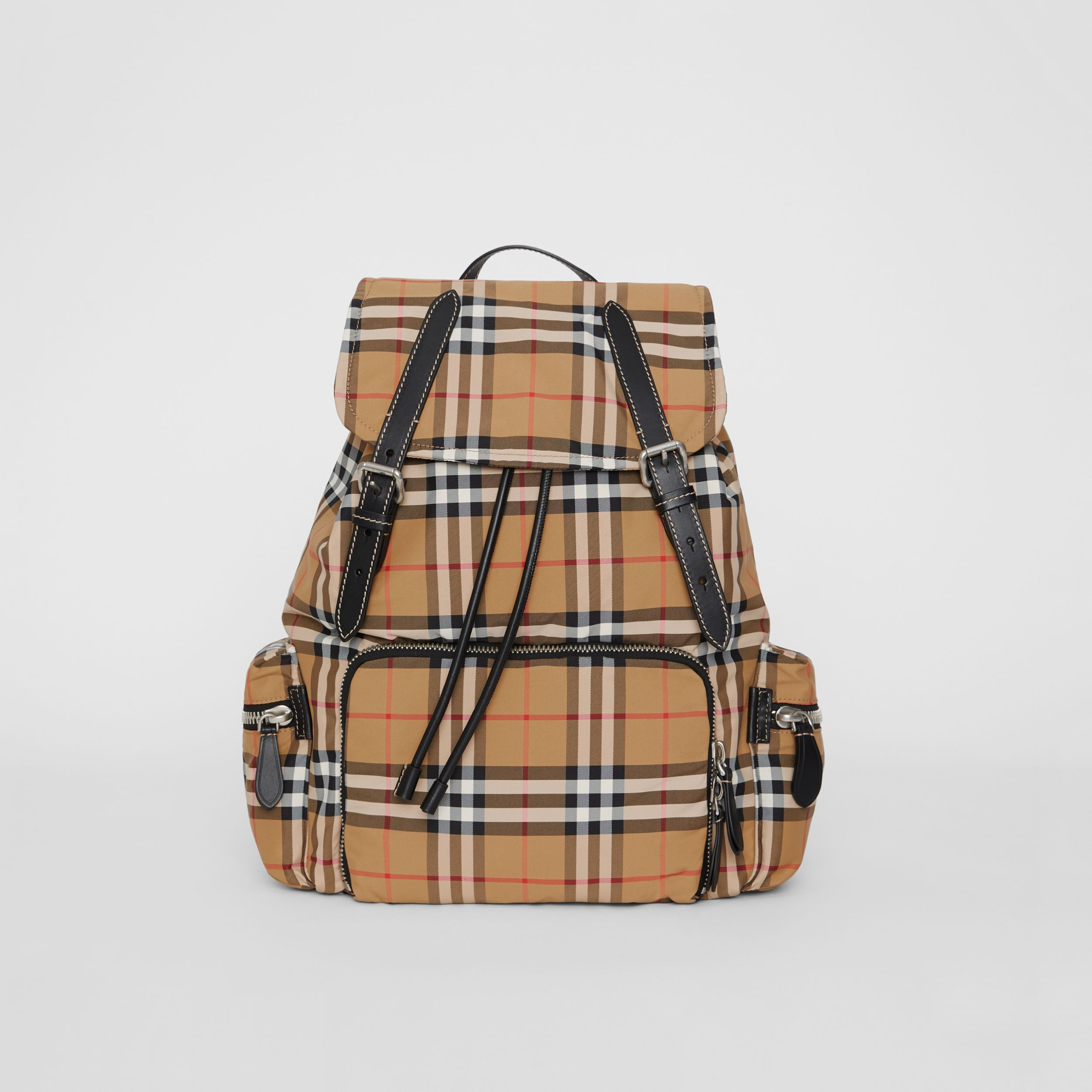 The Large Rucksack in Vintage Check Nylon in Antique Yellow | Burberry - 1