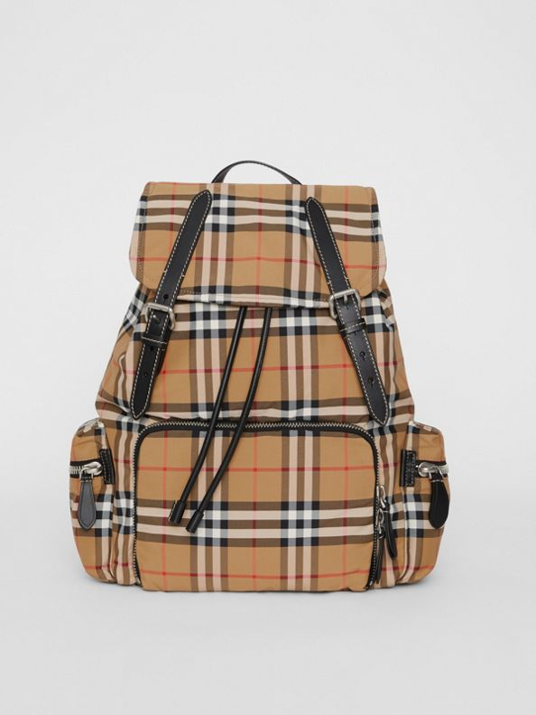 The Large Rucksack in Vintage Check Nylon in Antique Yellow