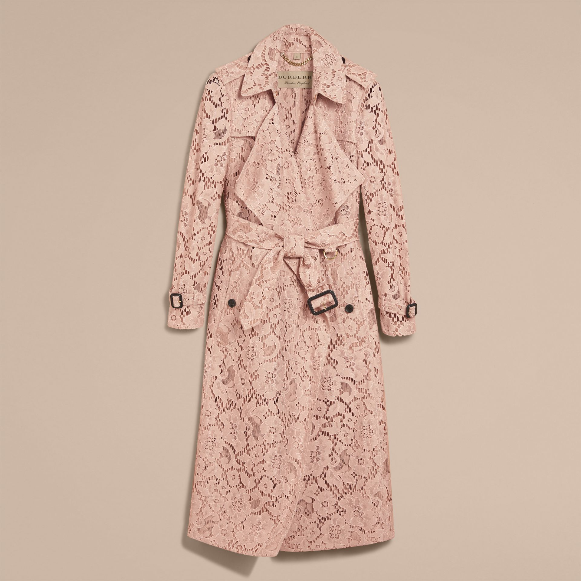 Macramé Lace Wrap Trench Coat in Nude - Women | Burberry - gallery image 4