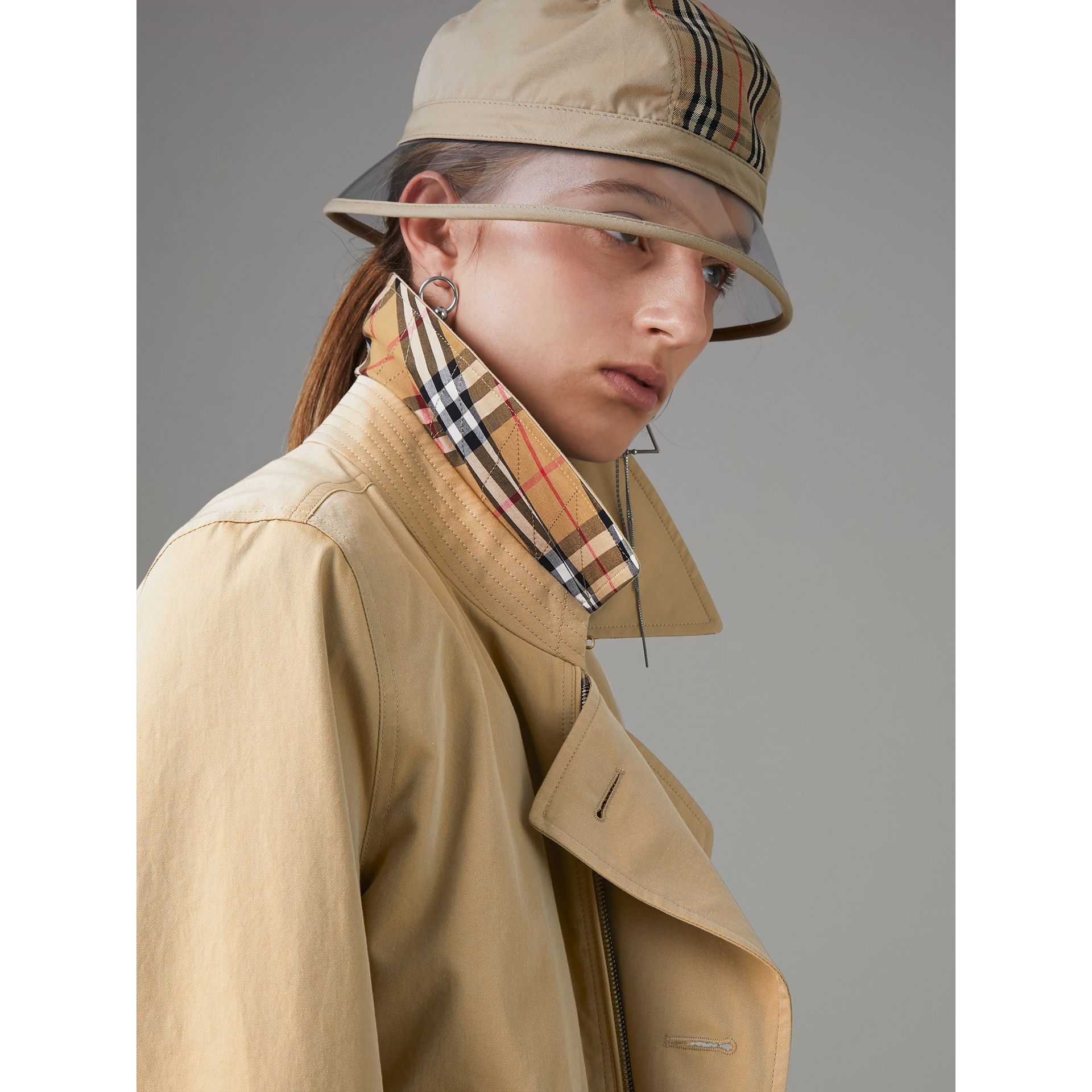 Tropical Gabardine Reconstructed Harrington Trench Coat in Honey - Women | Burberry - gallery image 4