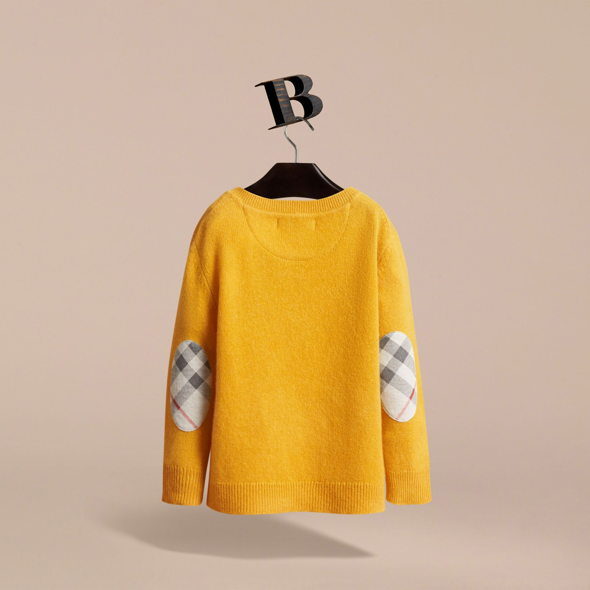 Check Elbow Patch Cashmere Sweater in Amber Yellow - Boy | Burberry - gallery image 4