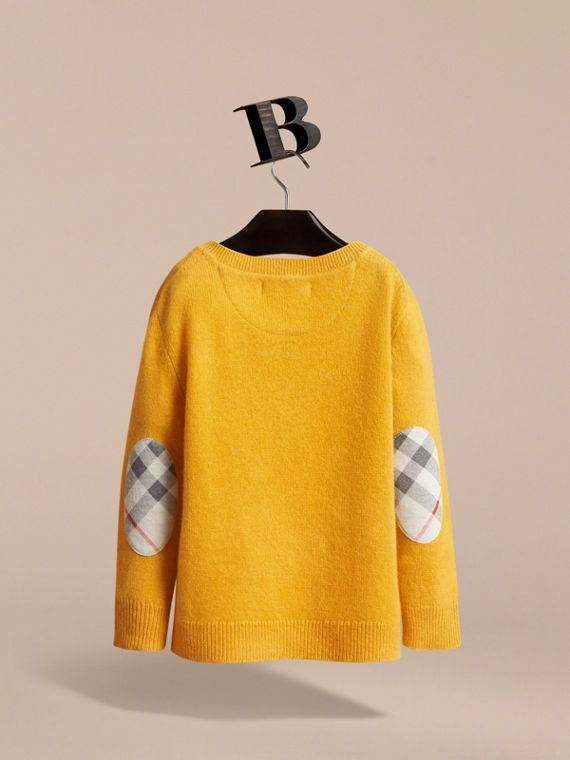 Check Elbow Patch Cashmere Sweater in Amber Yellow - Boy | Burberry Hong Kong - cell image 3