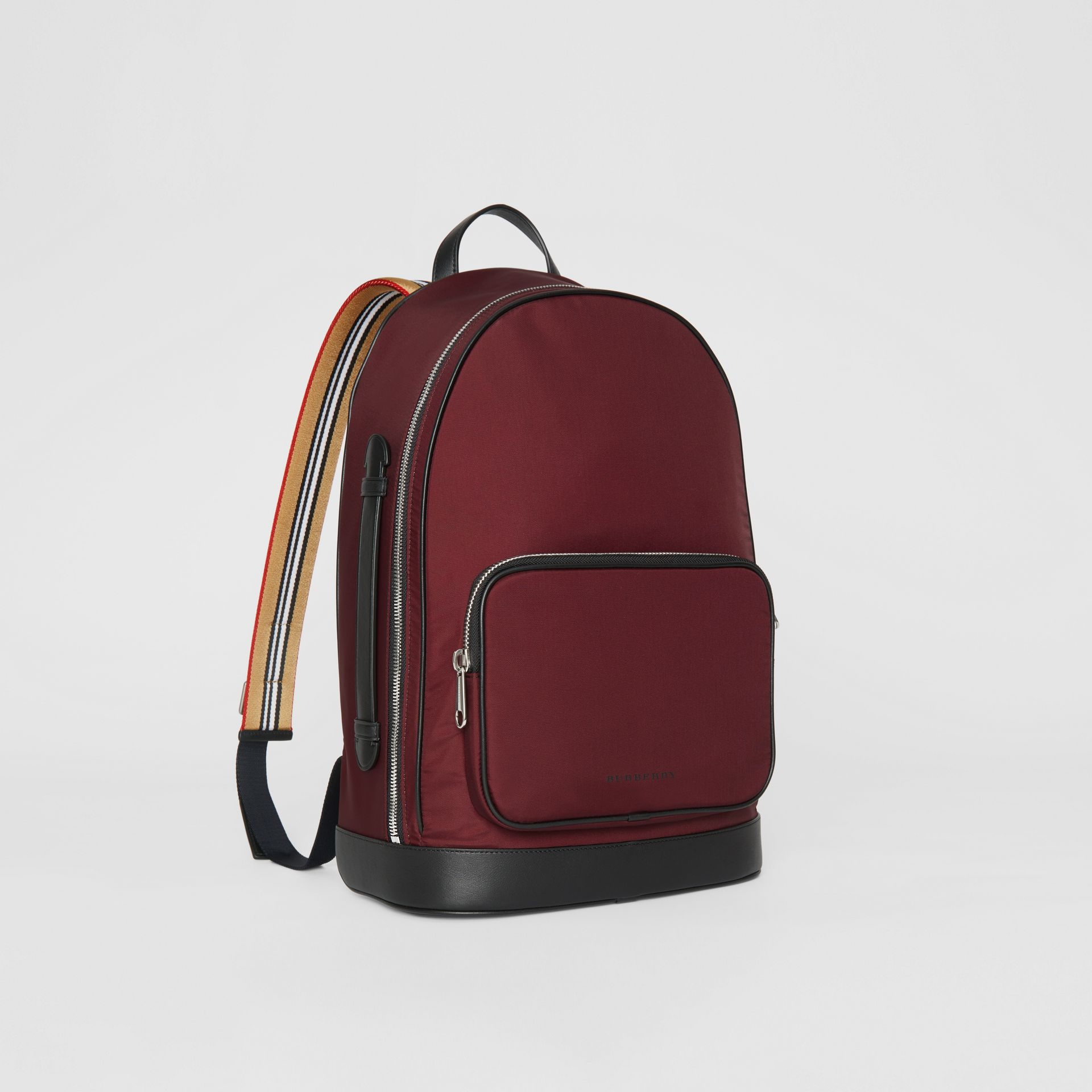 Icon Stripe Detail Nylon Backpack in Oxblood - Men | Burberry - gallery image 6