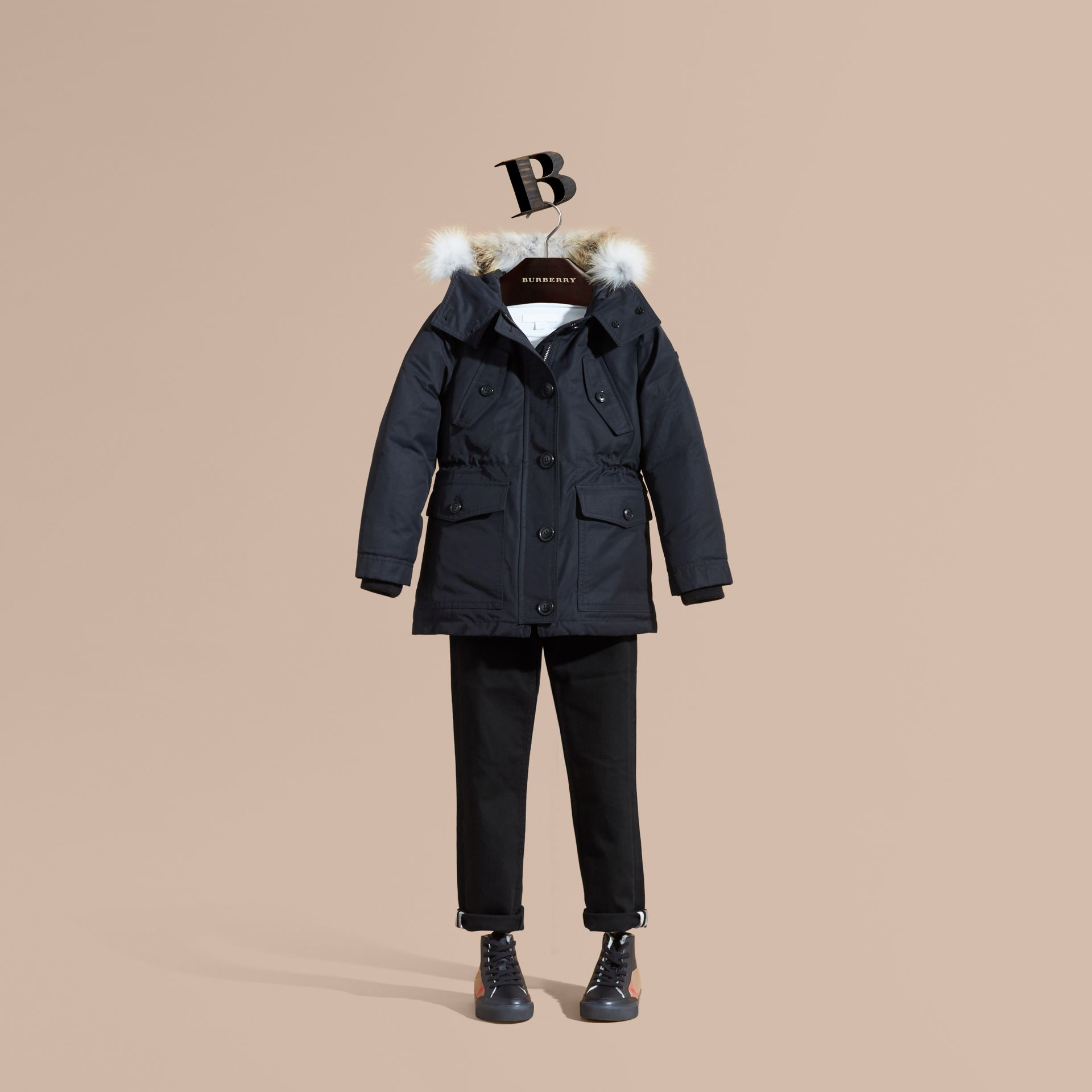 Navy Hooded Coat with Detachable Fox Fur Trim - gallery image 1