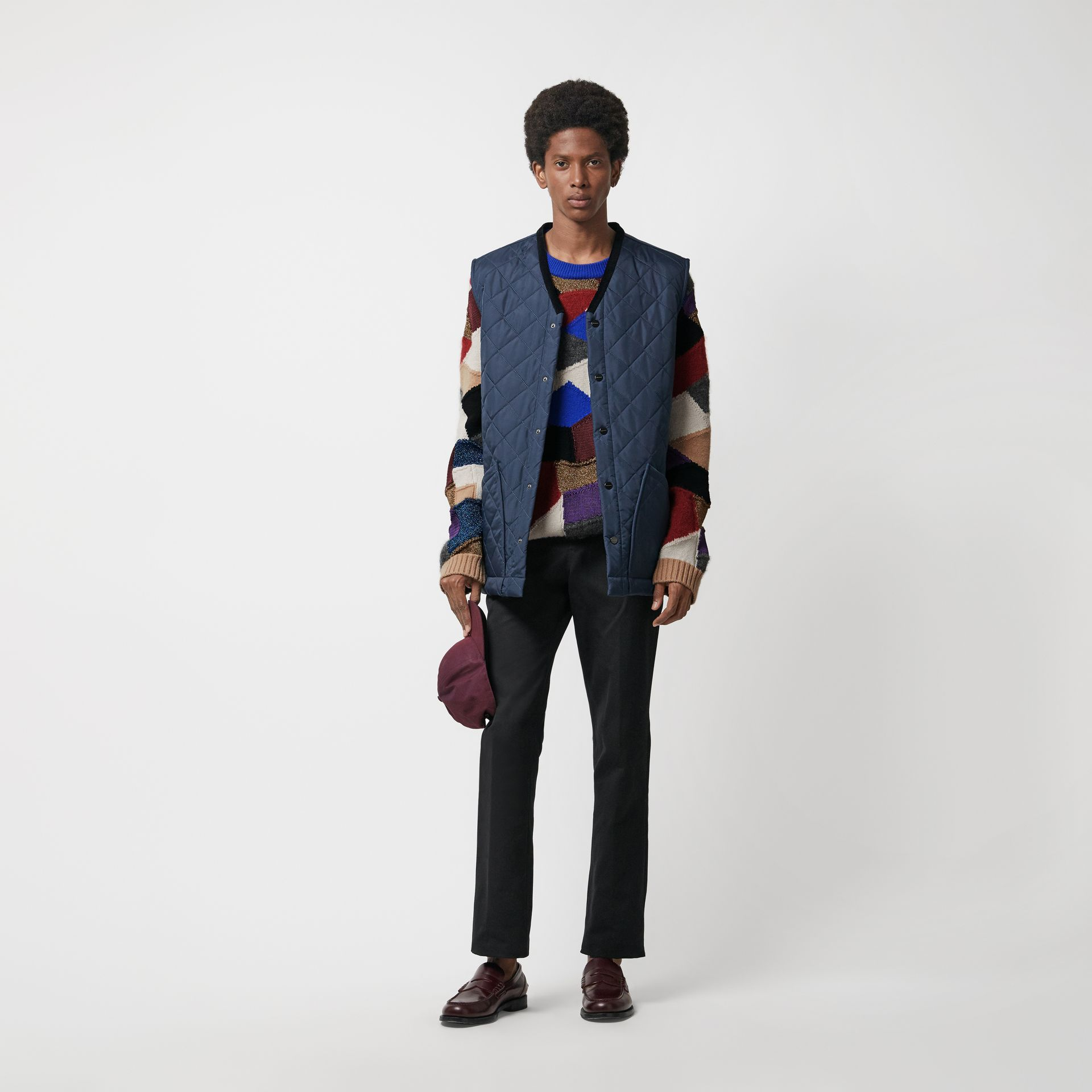 Diamond Quilted Gilet in Bright Navy - Men | Burberry - gallery image 0